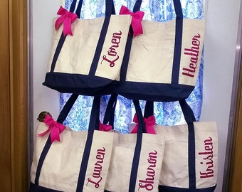 Canvas Tote Bag Shimmer Vinyl Personalized Bridesmaid Bags