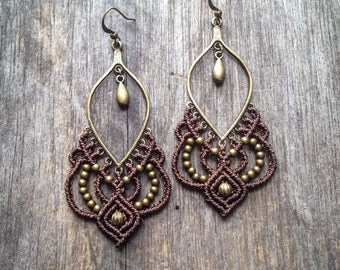 Big Micro macrame gypsy earrings bohemian chic jewelry by Creations Mariposa