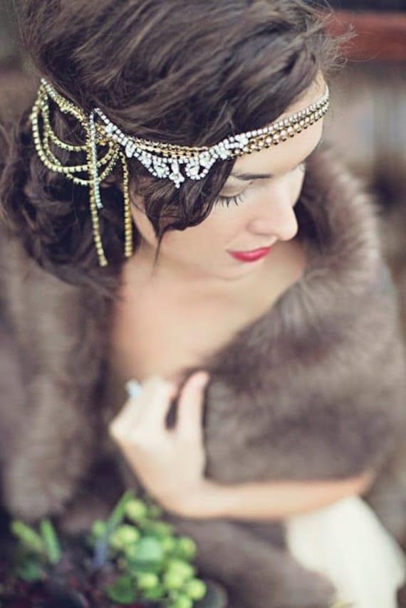 Rhinestone draped bridal headpiece, flapper art deco, gold plated vine, silver crystal, vintage bride, lady evelyn, sale, wedding, headpiece
