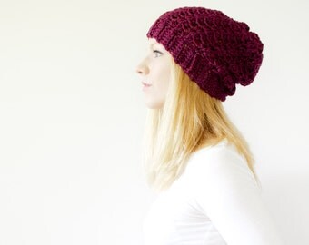the SUMTER hat - Slouchy hat beanie crocheted - plum heather - wool