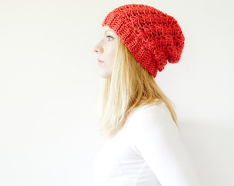 the SUMTER hat - Slouchy hat beanie crocheted - currant - wool