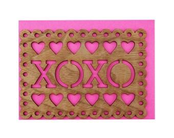 Real Walnut Wood Laser Cut Love Card - XOXO