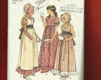 Vintage 1970's Simplicity 6371 Holly Hobbie Prairie Chic Girls Dress Pinafore & Bonnet Size 7 UNCUT