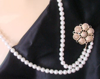 Vintage Sarah Coventry Swag Pearl Necklace Brooch / Pendant / Choker / Designer Signed  / Jewelry