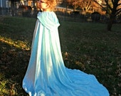 Elsa Snow Queen inspired Fancy Blue Sparkle velvet Cape Cloak Costume with train - Princess Frozen Once Upon a Time