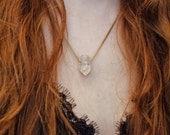 Stalactite Choker // Stone Pendant Choker // Layering Necklace // Lapis, Chrysoprase, or Quartz Simple Necklace