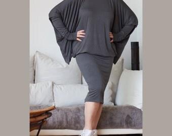 Wide Butterfly Midi Dress / Oversize Tunic / Loose Fit  Dress/ Turtle Neckline Dress / Dark Grey