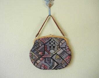 SALE! Vintage 1970's Kilim Pocket Book Clutch   Clutch Handbag