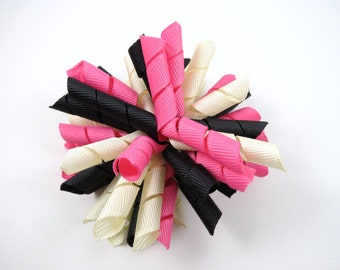 Pink Black and Ivory Korker Hair Bow  -  Hot Pink Hair Bow - Ivory Hair Bow - Black Hair Bow - Korker Hair Clip - Korker Hair Bow