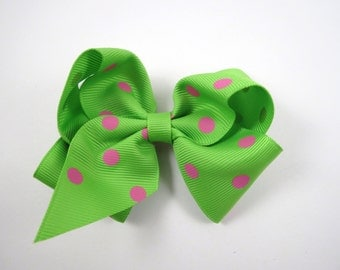 Polka Dot Hair Bow - Green and Pink Polka Dot Hair Bow - Green Hair Bow - Pink Hair Bow - Hair Bow - Polka Dot - Kids Girls Accessory Hair