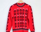SALE Vintage Womens Jumper >> 1990s Bright Red Love Heart Novelty Sweater Pullover >> Small / UK 8 10 / Euro 36 38 / US 4 6