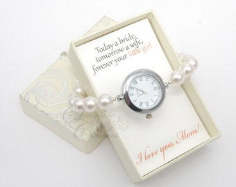 Mother of the Bride Gift, Pearl Watch, Pearl Bracelet Watch, Bracelet Watch, Bridal Pearl Bracelet, Wedding Jewelry, Wedding Bracelet Z01