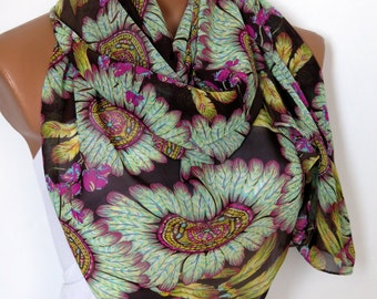 Feather Pattern Chiffon Multicolored Long Scarf, Feather pattern Rectangle Scarf,  Women Scarf, Spring -  Fall Fashion Scarfs for her,