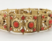 Antique Etruscan Revival Coral Brass Bracelet Late 19th Century Signed Czechoslovakia Free Shipping Insurance