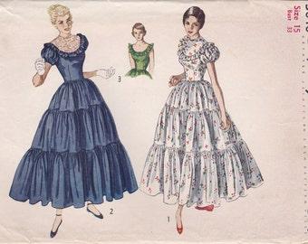 1940s Tiered Dress Pattern Simplicity 3040 Size 15 Uncut