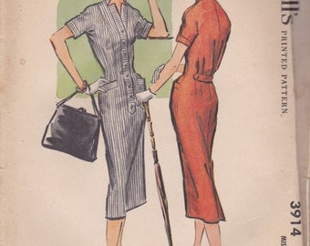 1950s Slim Fitted Summer Dress Pattern McCalls 3914 Size 12 Uncut