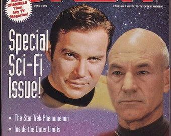 Vintage Satellite Orbit Magazine #199506 June 1995 Featuring Captain's Picard and Kirk. Special Sci-Fi Issue - Star Trek Phenomenon - Kirk