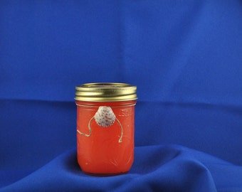 All Natural Ball Jar Candle With Watermelon Scent Accented With A Lovely Scallop Shell - Beach - Ocean - Organic - Soy - Sea Shells - Burlap