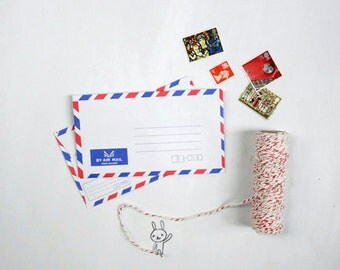 Classic Air mail Envelopes, Par Avion Envelopes, Small Airmail Envelopes with Red and Blue trim, size 3.6 x 6.4 inches -  Set of 25
