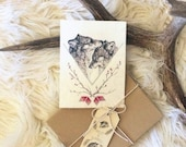 Wolf Love- boxed set of 6 blank cards with envelopes