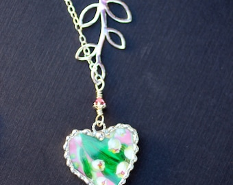 Necklace, Broken China Jewelry, Broken China Necklace, Heart Pendant, Lilly of the Valley China, Sterling Silver