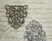 Silver or Brass Silverplated Filigree Stamping Floral Gothic Victorian Ornamental Ornate Antiqued