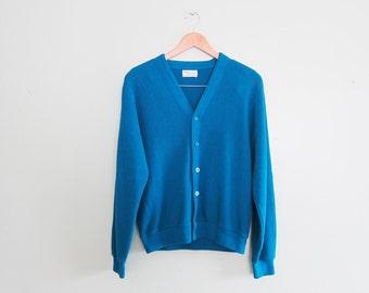 vintage cardigan / grandpa cardigan / oversize / 1970s dark turquoise cardigan S - M