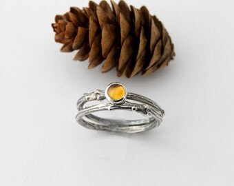 Twig and citrine stack ring set - sterling silver willow branch ring