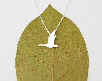 Goose necklace - sterling silver migrator necklace