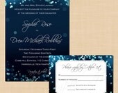 Midnight Blue Night Sky Invitation and RSVP Package: Text-Editable, Printable, Instant Download