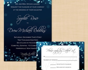 Midnight Blue Night Sky Invitation And Rsvp Package Text Editable Printable Instant