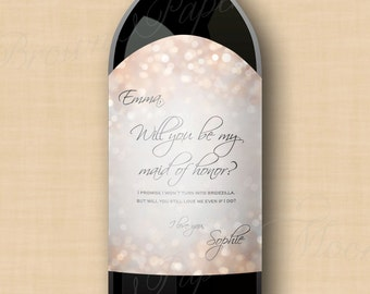 will you be my bridesmaid wine label etsy