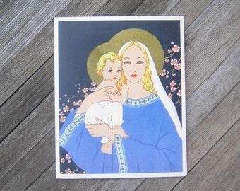 1950s Vintage Catholic Mother's Day Card - Vintage Mother's Day Card for Mom - Catholic Blessing; Beautiful Blue Litho Card