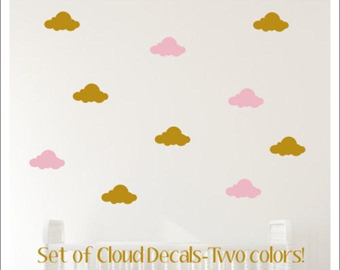 Cloud Wall Decals Peel and Stick Cloud Decals Vinyl Cloud Decals Set of Cloud Decals Nursery Decals Bedroom Decals Children Boy Girl Clouds