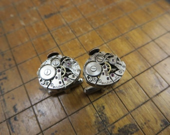 Bulova 5AB Watch Movement Cufflinks. Great for Fathers Day, Anniversary, Groomsmen or Just Because.  #355