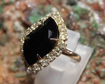 Vintage Adjustable Rhinestone Ring