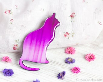 Ombre pink cat pin brooch, ombre jewelry, cat silhouette, cat jewelry, animalistic jewelry, bright accessories, cat brooch, cat lover