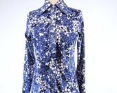 70s Floral Disco Shirt Blue and White Blouse - sm