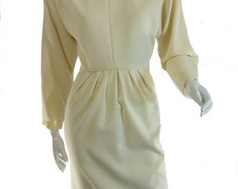 Vintage Italian Cream Wool Dress - med