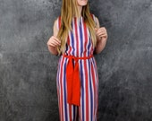 Vintage lounge ware by Danville Union Made  Red White and Blue hipster pantsuit one piece jumper Fourth of July Outfit Patriotic jumper