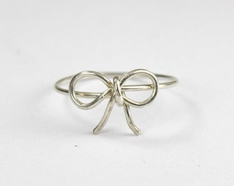 Sterling Silver Wire Bow Ring, Bow Tie Ring, Forget Me Knot Ring, Wire Wrap Statement Rings