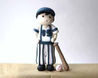 Fondant Baseball Player Cake Topper Set. Baseball Fondant Topper. Slugger Fondant Topper. Sports Fondant Topper.