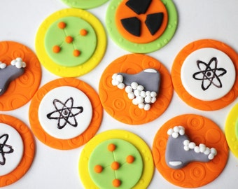 Mad Science Fondant Cupcake Cake Toppers - Science fondant topper - Mad science fondant toppers