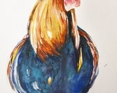 Rooster Chicken Painting -Watercolor Original
