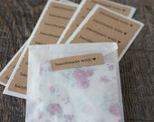 """Handmade with Love Labels.  1.75"""" x 0.5"""" Kraft Stickers. Set of 36."""