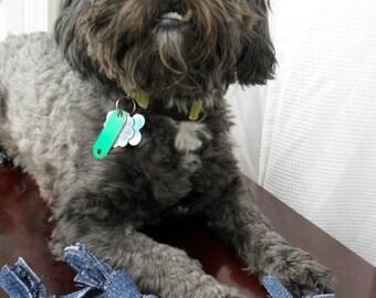 Upcycled dog toy, set of two - denim dog toy, tug toy