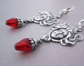 Art Nouveau Earrings - Bright Ruby Red - Mucha Lady Swirling Hair - Mythologic Jewelry - Goth Jugendstil