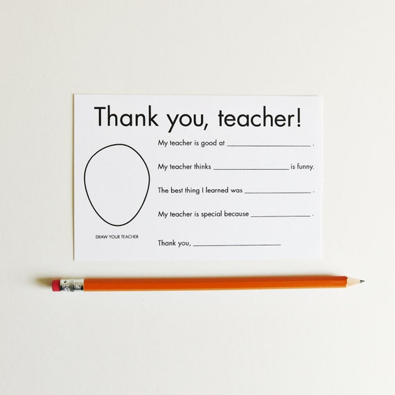 Printable Thank You Notes for Teachers Card Download - Teacher ...