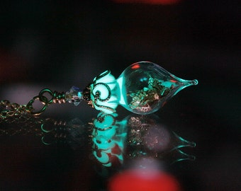 Gold or Silver Flakes in Tear Drop Glass Pendant GLOW in the DARK