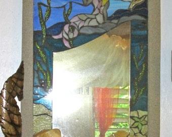 Beautiful Large Hand Made Mermaid Mirror-  Stain Glass Mosaic- Beach Decor- HOLIDAY SALE